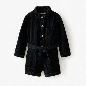 NWT Zara Black Corduroy Playsuit with Belt